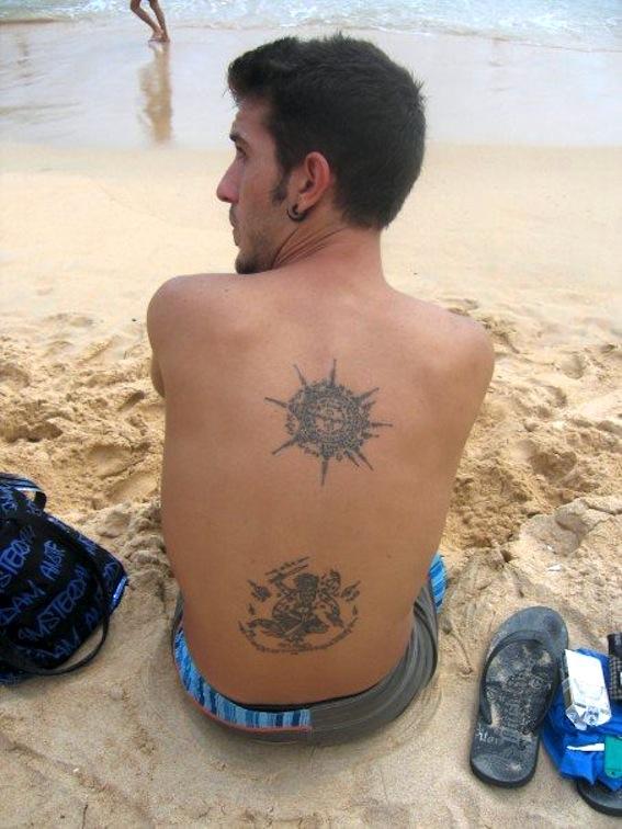 Buddhist Tattoo On Man Back Body