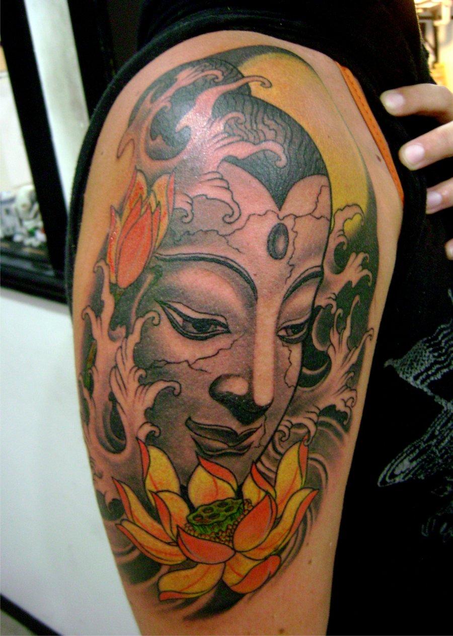 Attractive lotus flowers and buddhist tattoo colored lotus flowers and buddhist tattoo on half sleeve mightylinksfo