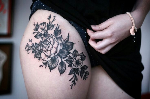 Girl Right Thigh Black And White Rose Flower Tattoo