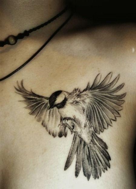 Grey Ink Flying Bird Tattoo On chest