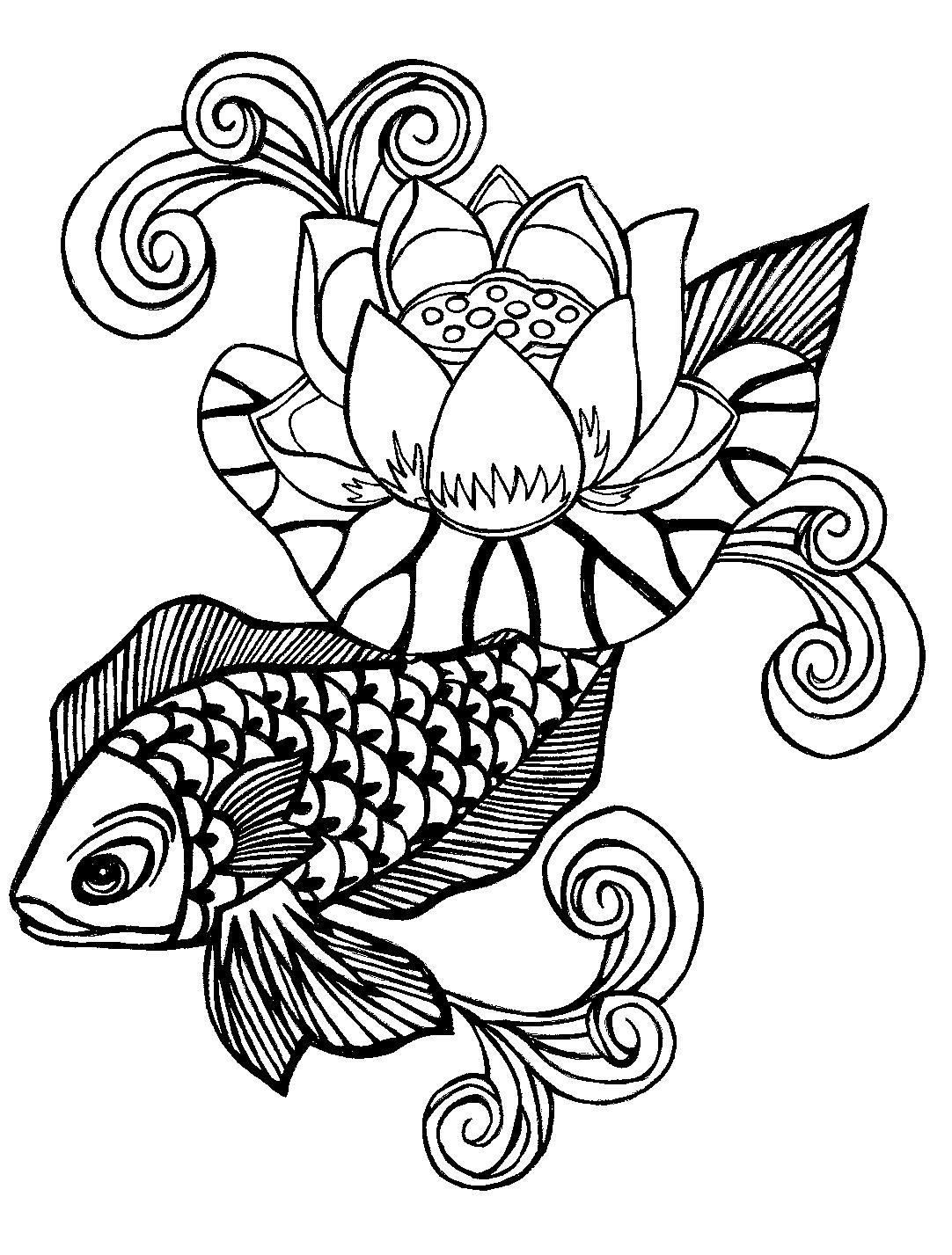 Lotus flower and fish black and white tattoo design izmirmasajfo