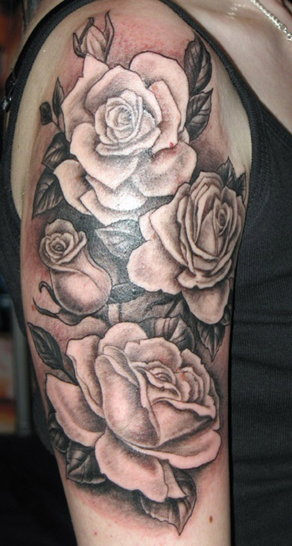 Half Sleeve Rose Flowers Black And White Tattoo