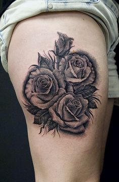 Right thigh black and white rose flowers tattoo mightylinksfo