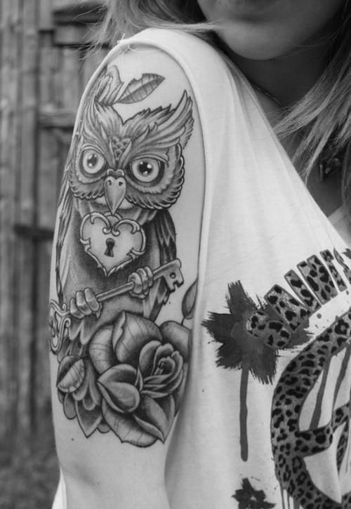 Rose Flower And Owl Black And White Tattoo On Half Sleeve