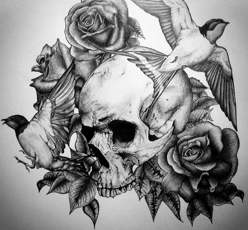 Black And White Rose And Skull Tattoos Rose Flowers And Skull Black