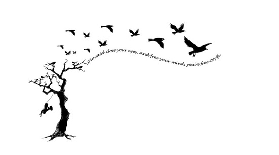 Tree and birds tattoo design