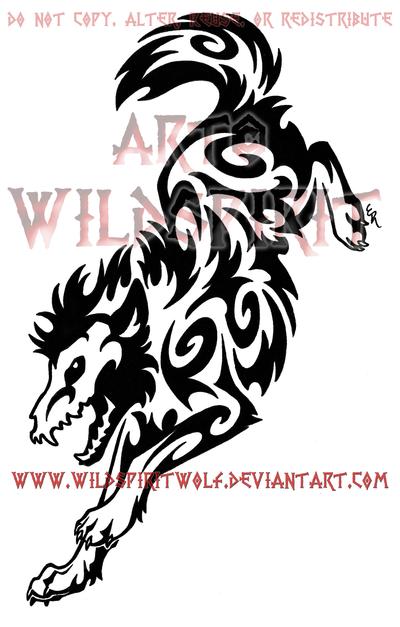 de5c0fddc Amazing Black Tribal Coyote Tattoo Design