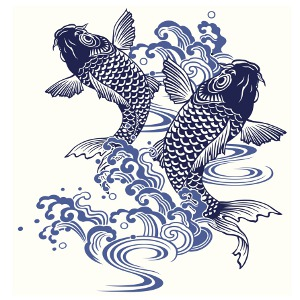 Water Waves And Pisces Carp Fish Tattoos Designs