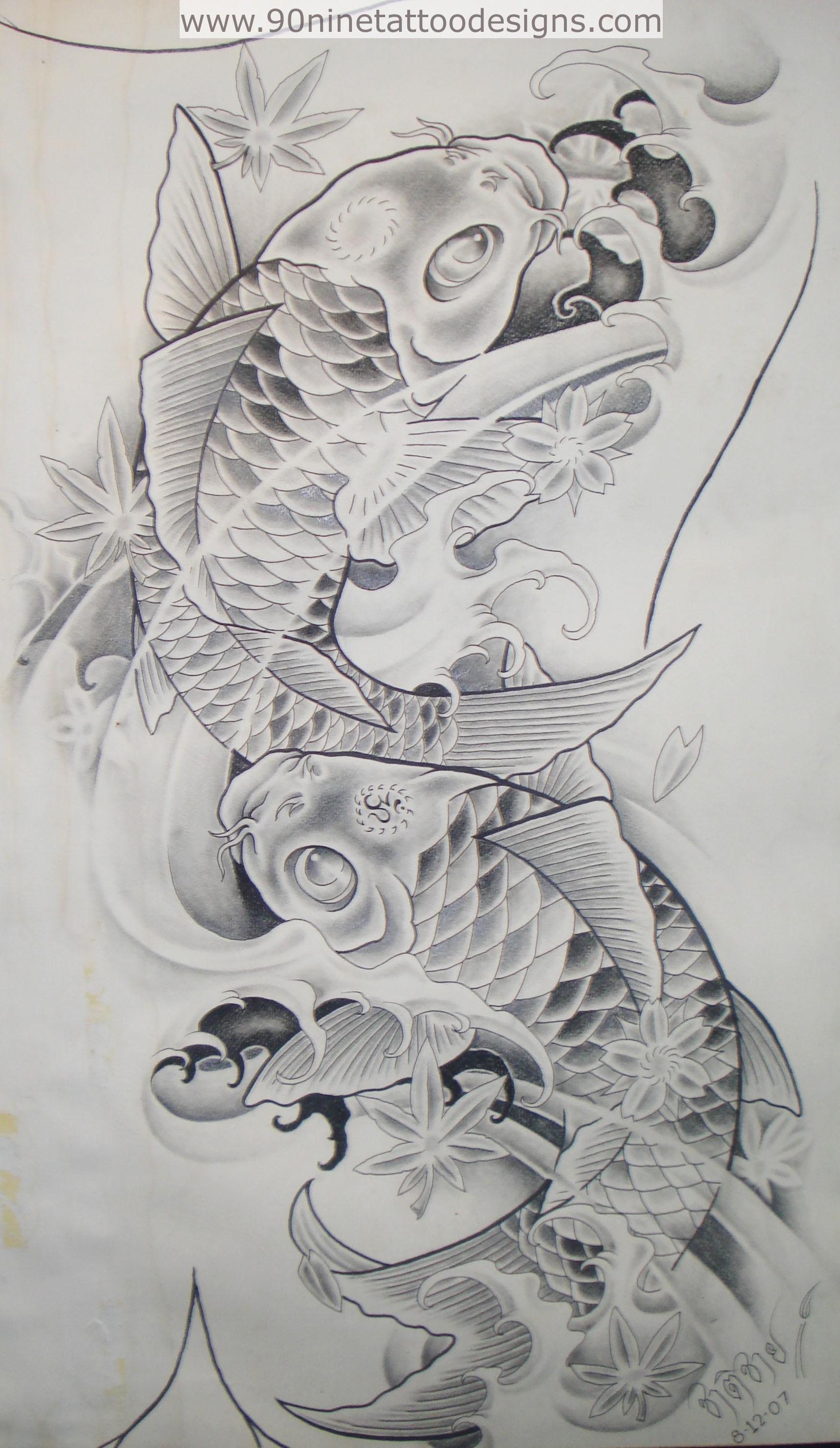 Koi Fish Tattoo Half Sleeve Stencil Best Grey Ink Carp Fish Tattoo Design