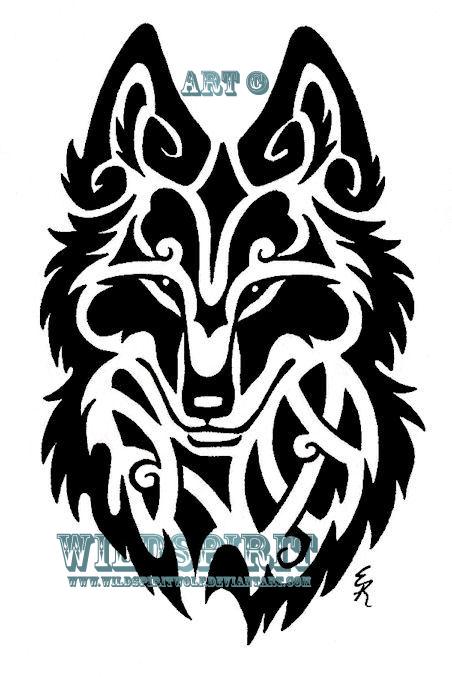 6b55dd3a1 Black Ink Celtic Coyote Head Tattoo Design