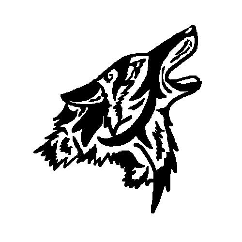 c000c7207 Black Ink Tribal Coyote Howling Head Tattoo Design