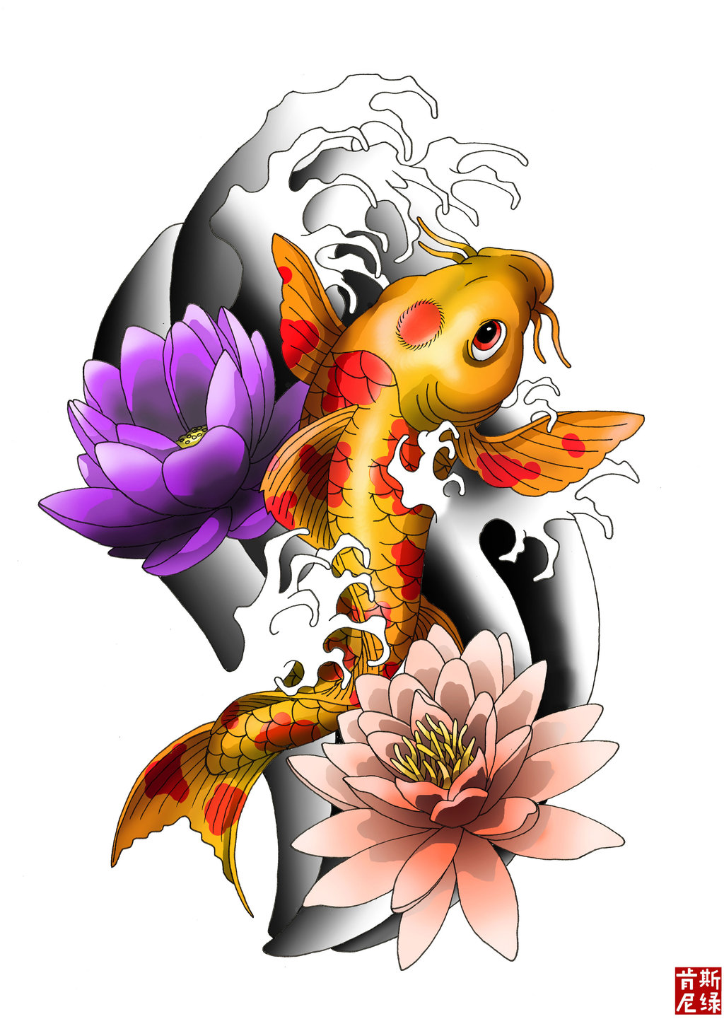 Colored Lotus Flowers And Carp Fish Tattoo Design