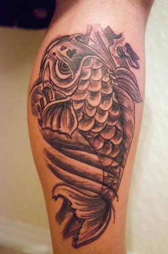 grey ink carp fish tattoo on back leg. Black Bedroom Furniture Sets. Home Design Ideas