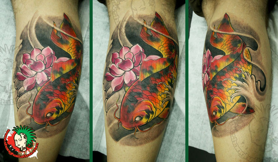 Lotus Flower And Koi Fish Back Tattoo For Men