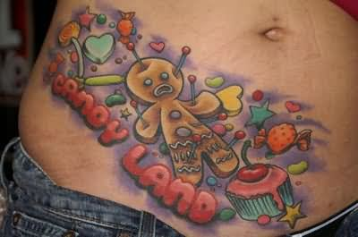 Candy Land Tattoo On Belly