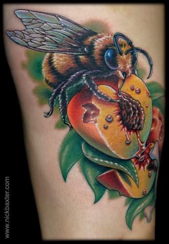 Peach And Bee Tattoo | 347 x 500 jpeg 32kB