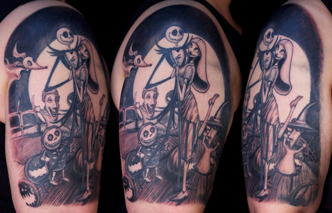 Nightmare Before Christmas Tattoo On Right Shoulder