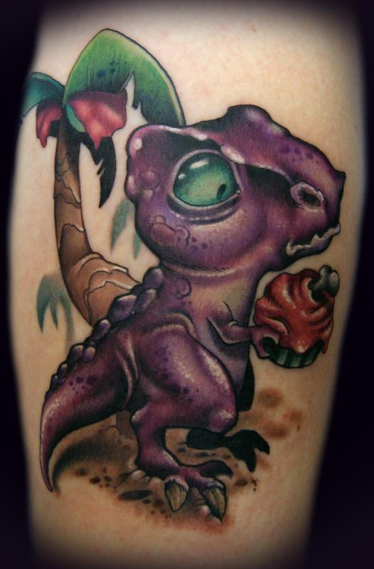 Cartoon Dinosaur Tattoo