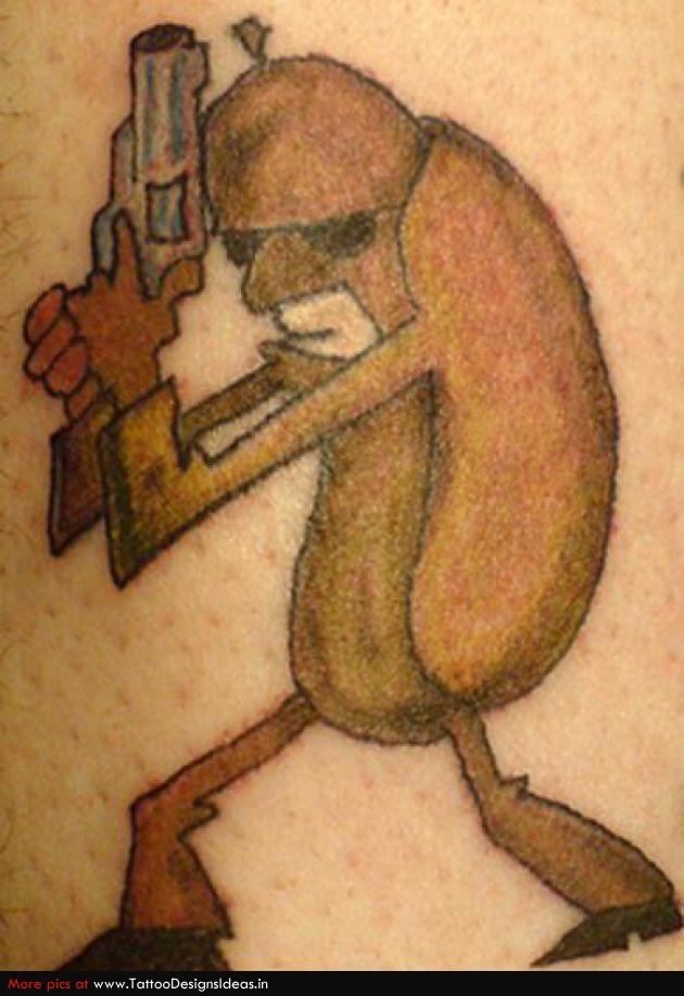 Funny cartoon hotdog tattoo for Funny cartoon tattoos