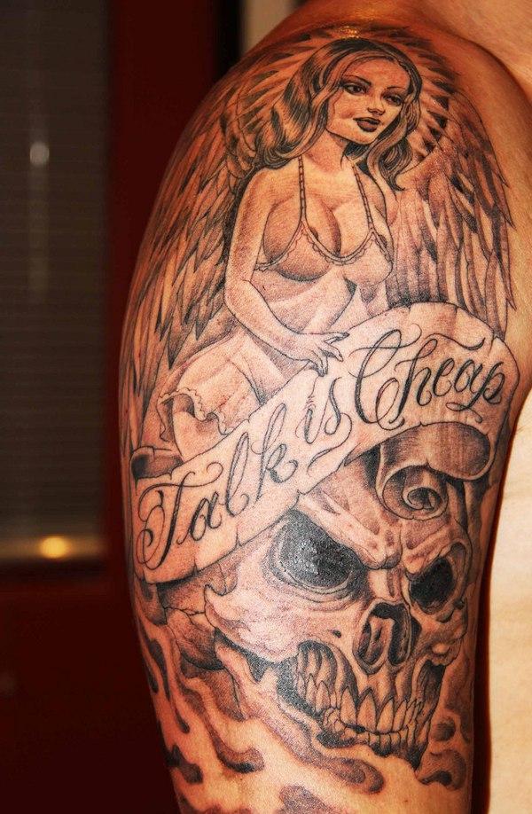 grey ink cartoon tattoos on man right half sleeve. Black Bedroom Furniture Sets. Home Design Ideas