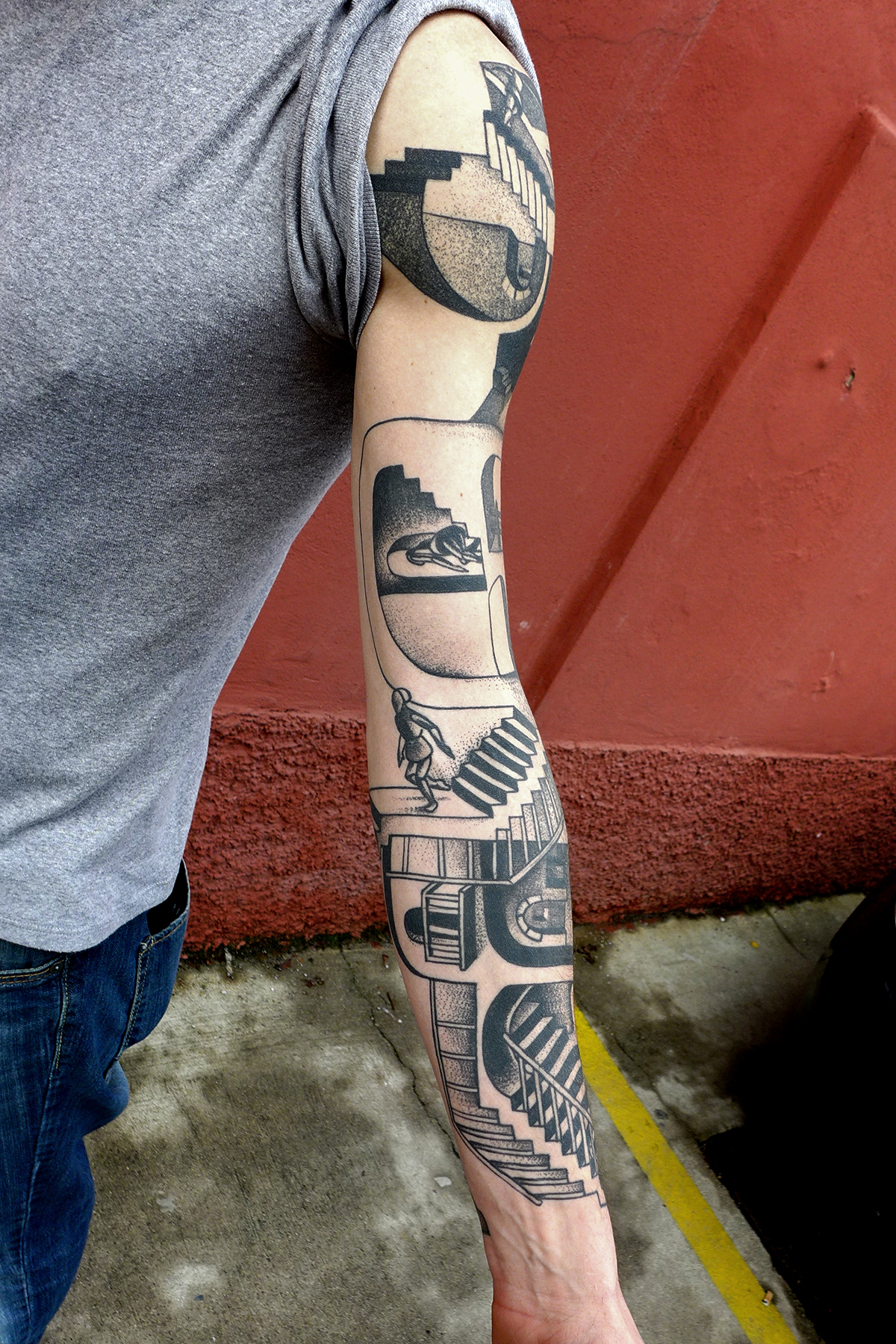 Left Sleeve Escher Tattoo
