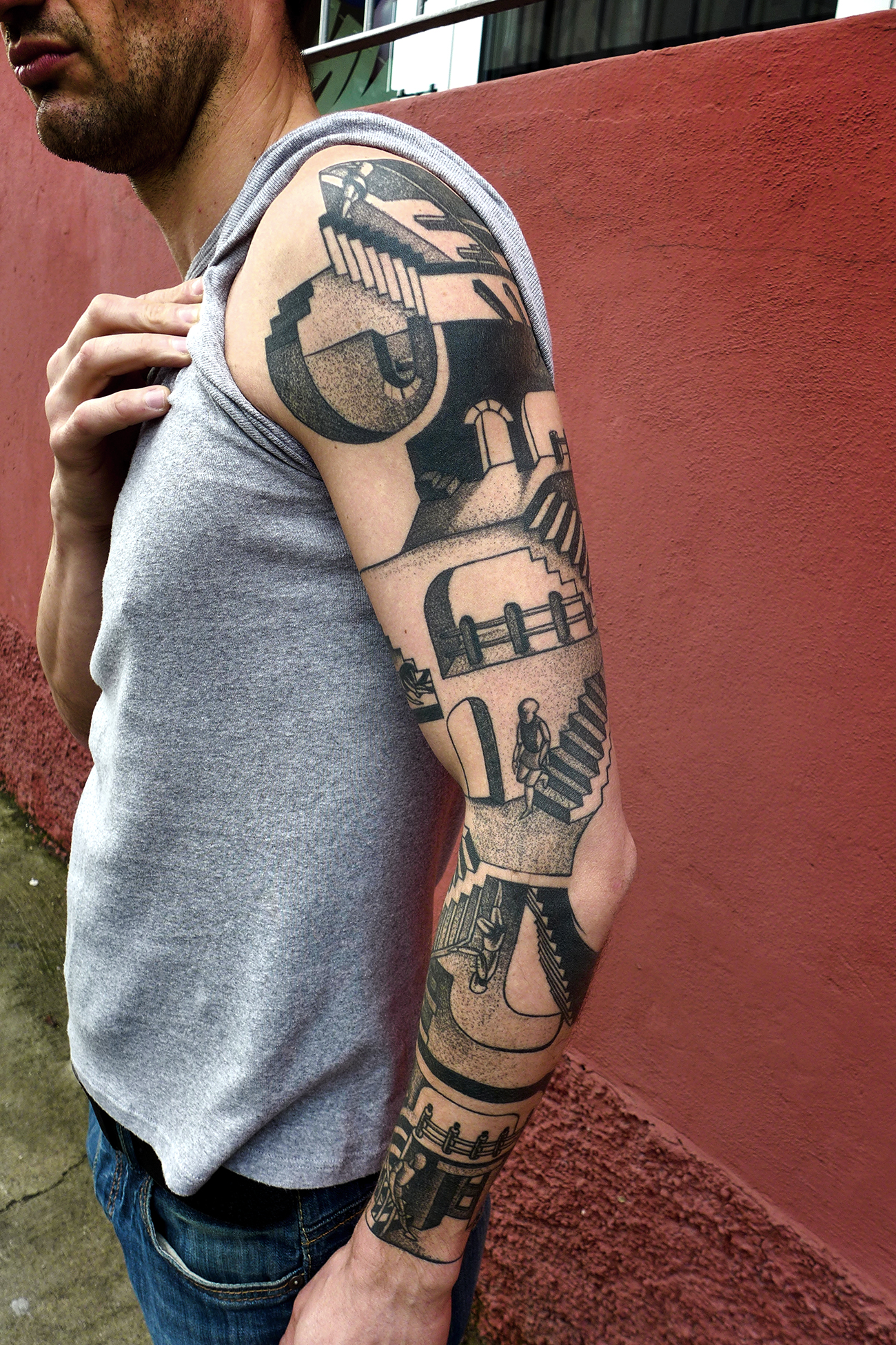 Man Left Sleeve Escher Tattoo