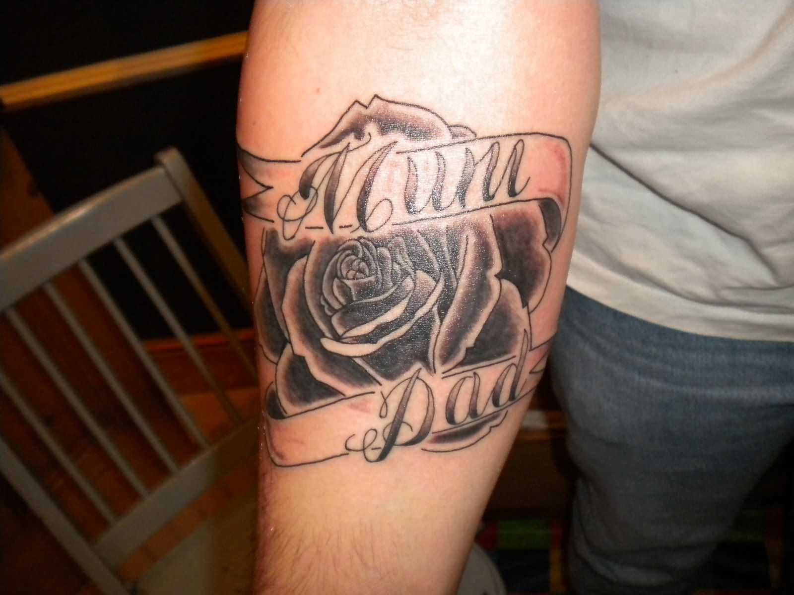 Black Rose And Mom and Dad Tattoo