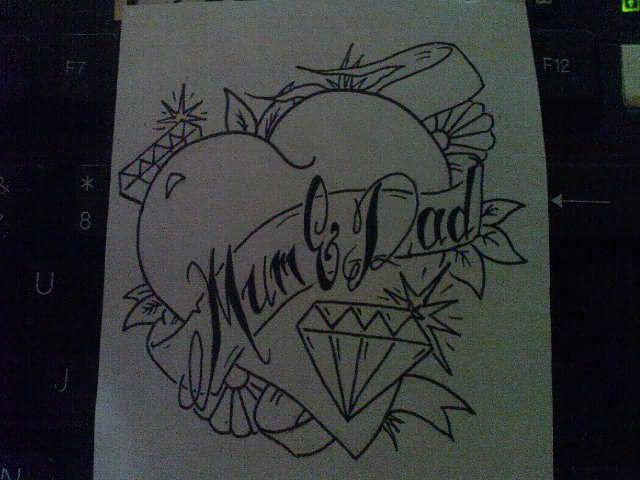 Heart And Diamond Mom Tattoo Design
