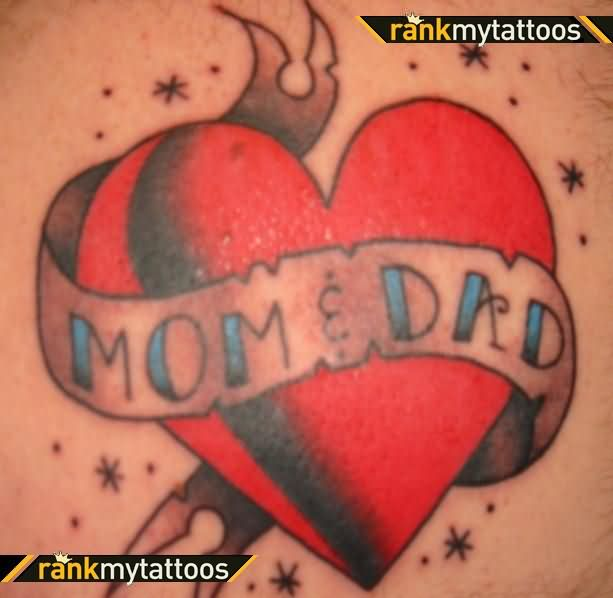 Heart And Mom Dad Tattoo: Mom And Dad Banner Heart Tattoo