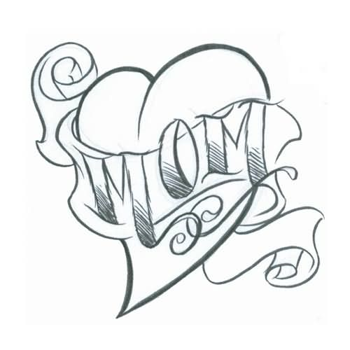 Outline Heart And Mom Tattoo Design