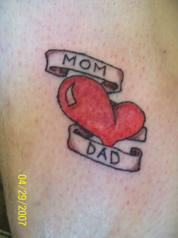 red heart and mom dad tattoo. Black Bedroom Furniture Sets. Home Design Ideas