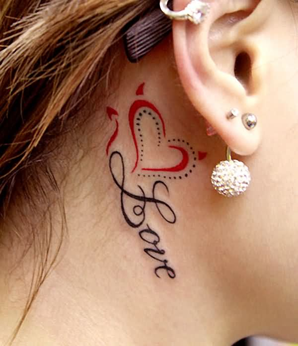 Beautiful Red Heart Love Tattoo