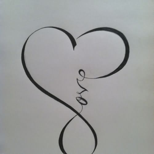 Black Ink Love Heart Tattoo Design