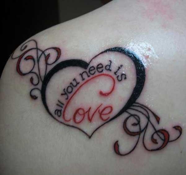 Unique Right Back Shoulder Love Tattoo