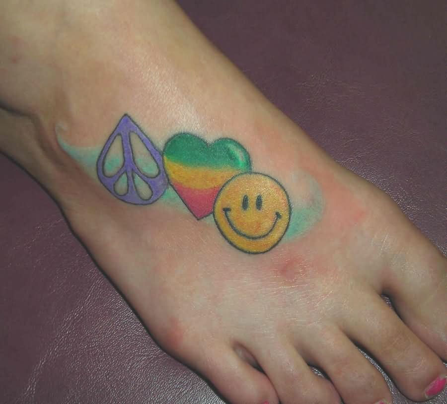 Smiley Peace Symbol And Heart Love Tattoo