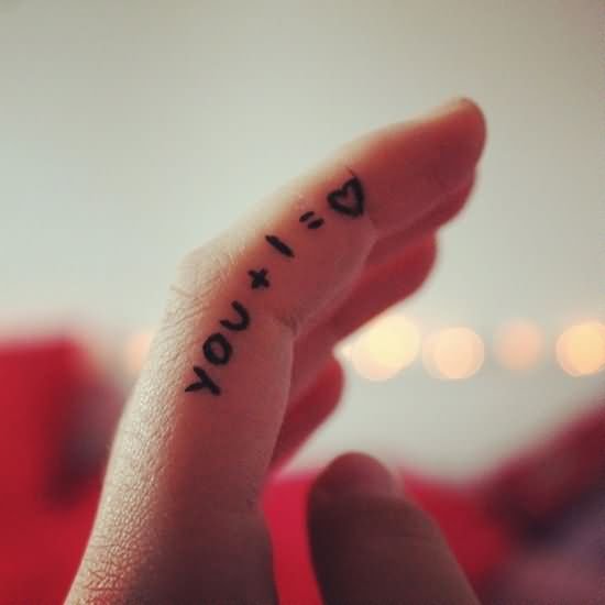 You And I Equals Love Tattoo On Finger