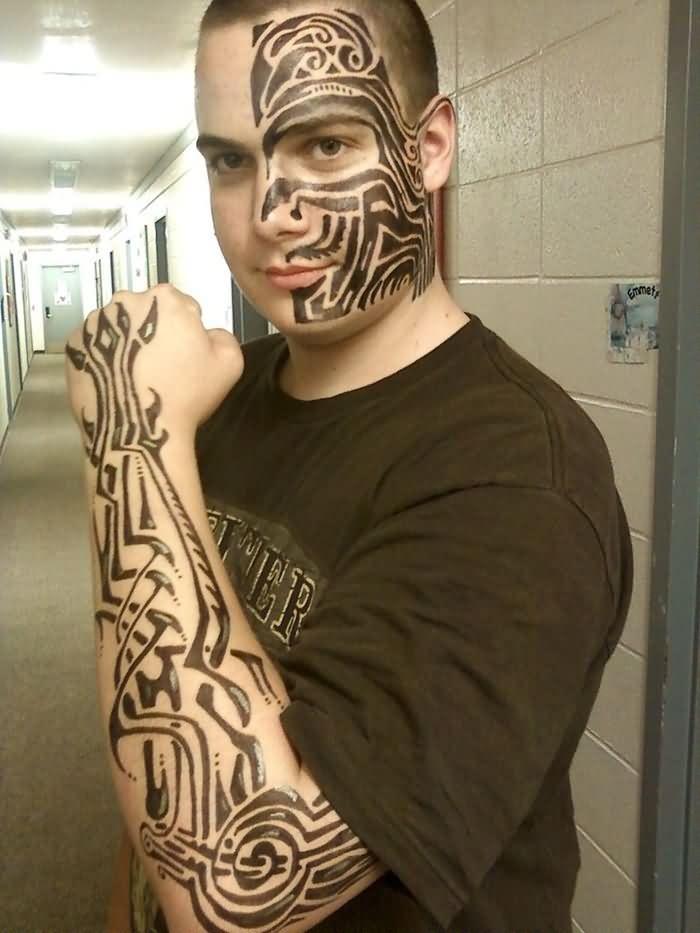 Black Tribal Wrist Tattoo For Men