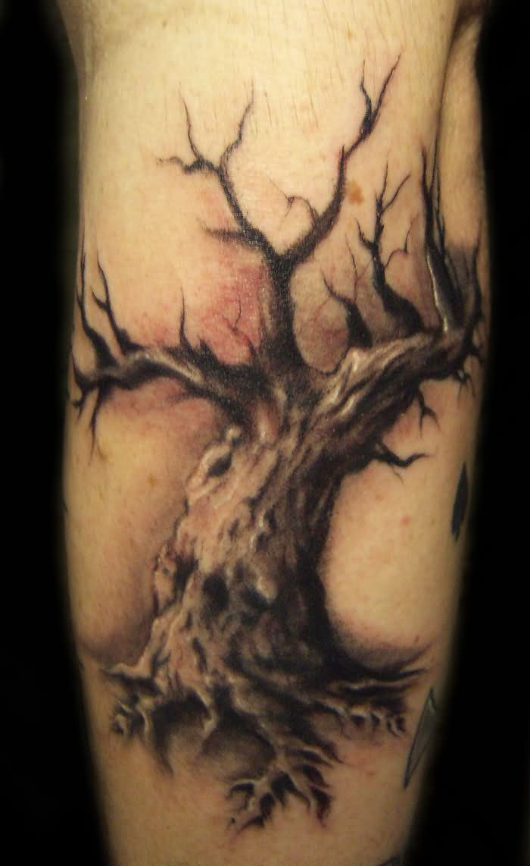 Grey Ink Winter Tree Tattoo