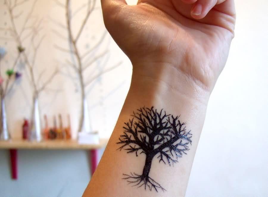 Tree Tattoos For Girls on Wrist Left Wrist Tree Tattoo