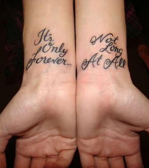 Nice Black Ink Lettering Wrist Tattoo