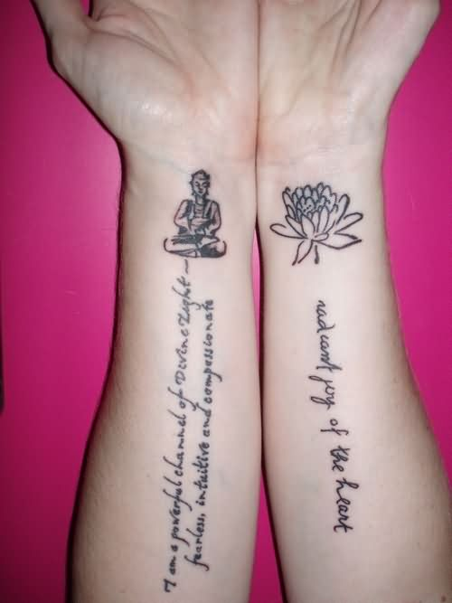 f6e439dd8298b Religious Flower And Buddha Wrist Tattoo