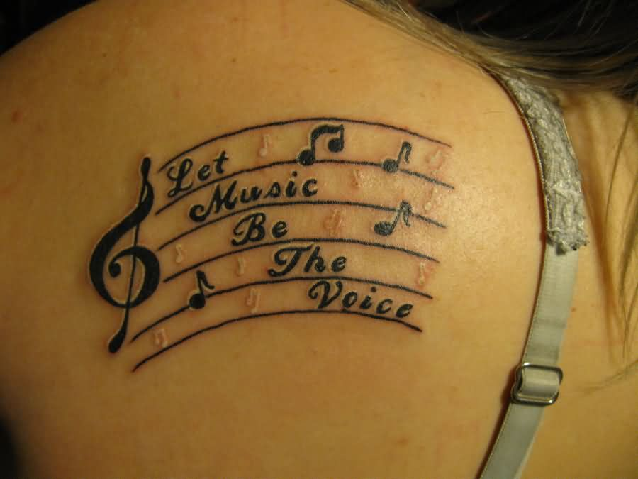 Music Notes Tattoos on Back Back Shoulder Music Tattoo