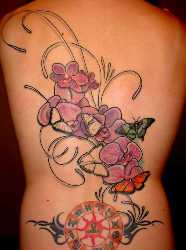 3ee284881981b Butterfly And Orchid Tattoos On Back Body