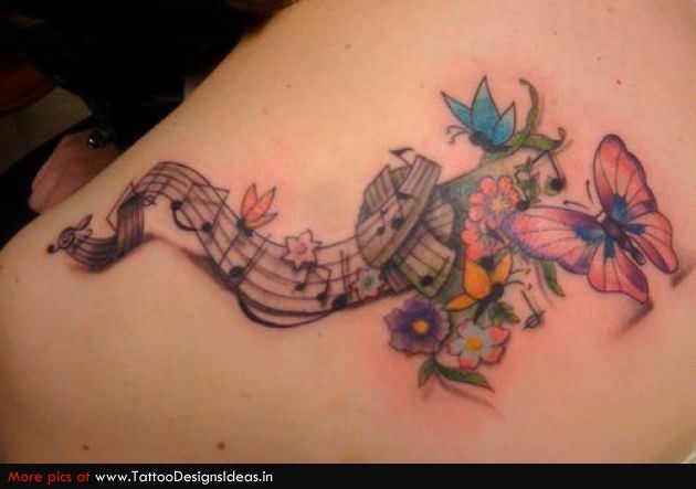 c0935e39e Color Butterfly Flower And Music Tattoo