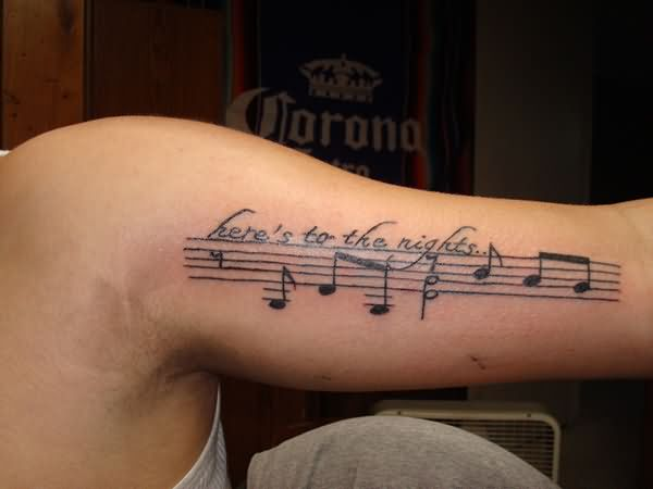 Music tattoo images designs for Inner arm tattoos quotes