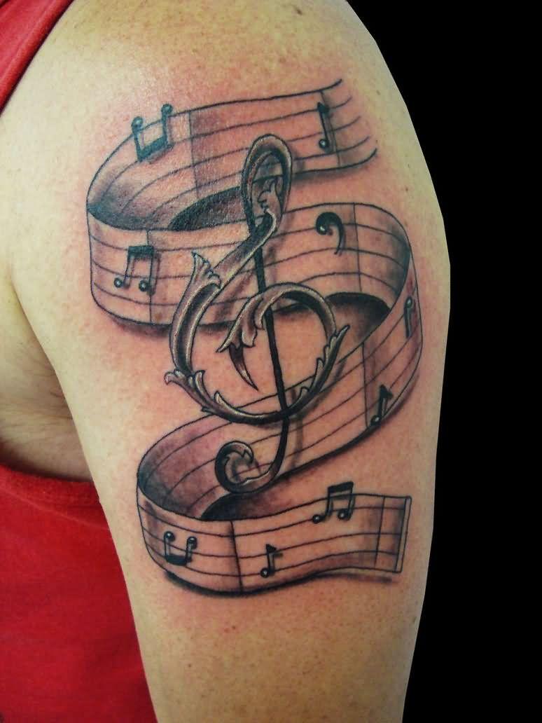 Left shoulder music tattoo for men for Music tattoos for guys