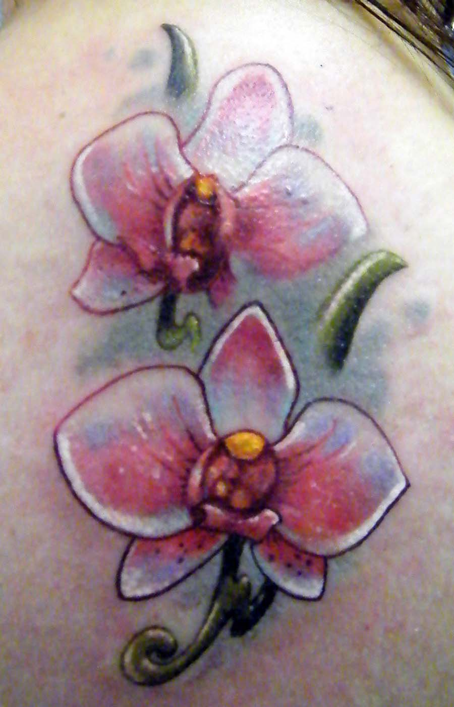 Left Shoulder Orchid Tattoo