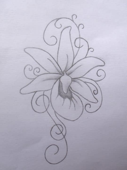 Outline Orchid Tattoo Design