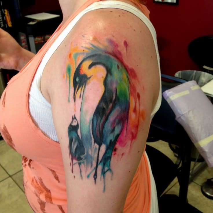 Abstract Color Penguin Tattoo On Left Half Sleeve