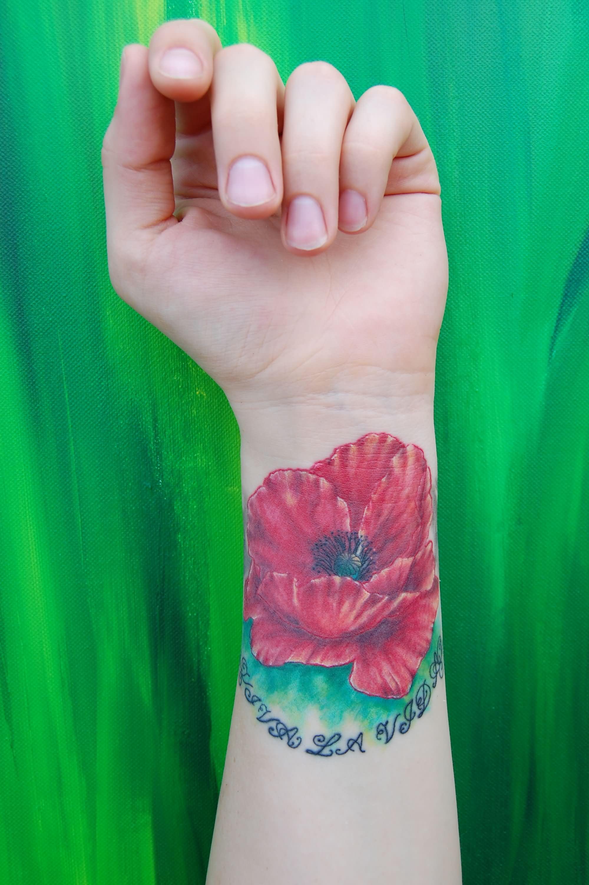 Left Wrist Poppy Tattoo